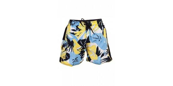 Pánské modro-žluté koupací šortky David s havajským vzorem a přední kapsou