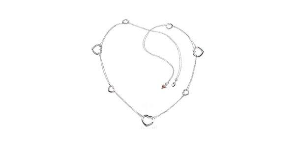 Dámský ocelový náhrdelník Guess se srdíčky