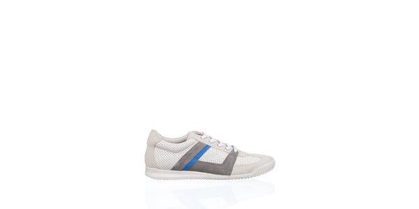 Pánské bílé kožené tenisky Gianfranco Ferré s šedivými a modrými proužky