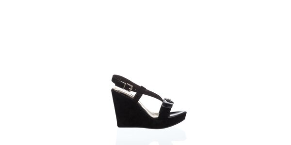 Dámské černé sandály Gianfranco Ferré na vysokém klínu