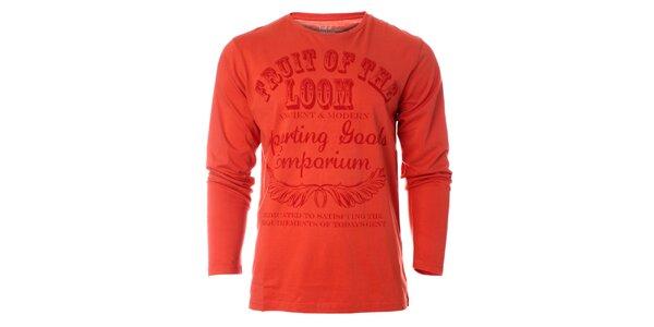 Pánské oranžové tričko Fruit of the Loom s potiskem