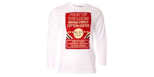 Pánské bílé tričko Fruit of the Loom s potiskem