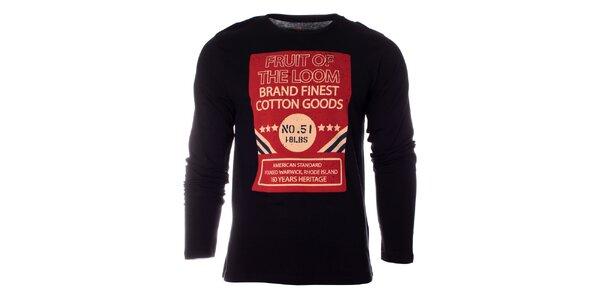 Pánské černé tričko Fruit of the Loom s potiskem
