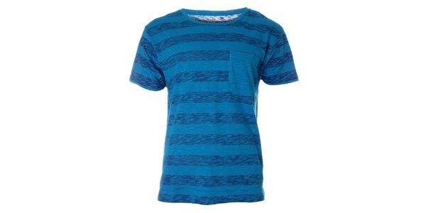 Pánské modré pruhované tričko Fruit of the Loom