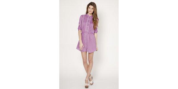 Dámské světle fialové propínací šaty s jemným proužkem Tantra