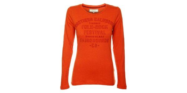 Dámské oranžové tričko Timeout s výšivkou
