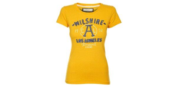Dámské žluté tričko Timeout s výšivkou