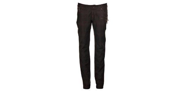 Dámské tmavě šedé kalhoty Timeout s růžovou kostkou
