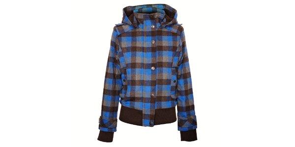 Dámská hnědo/modrá kostkovaná bunda Timeout s kapucí