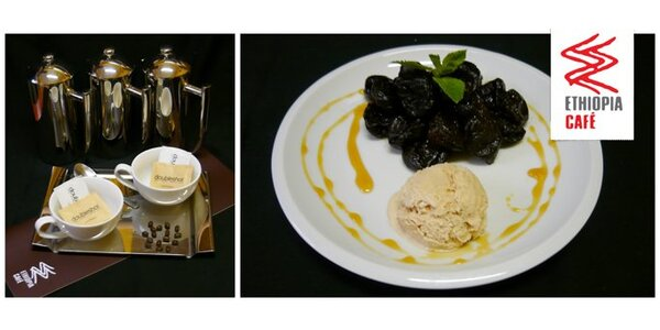 Dvě skořicové zmrzliny se švestkami v rumu a dvě prvotřídní etiopské kávy!