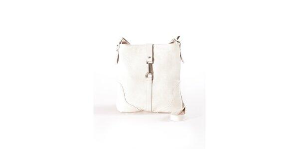 Dámská béžová plochá kabelka s kovovou přezkou Luisa Vannini
