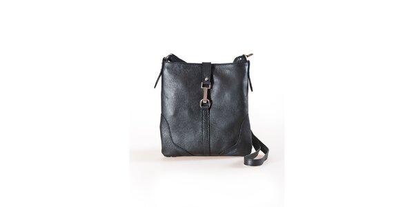 Dámská černá plochá kabelka s kovovou přezkou Luisa Vannini