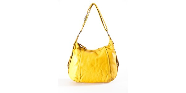 Dámská kanárkově žlutá kožená kabelka Luisa Vannini