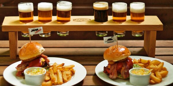 Domácí burger a alkoholický degustační set