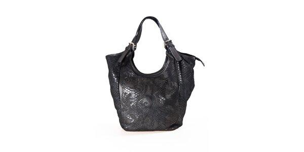 Dámská černá kabelka s hadím vzorem Luisa Vannini