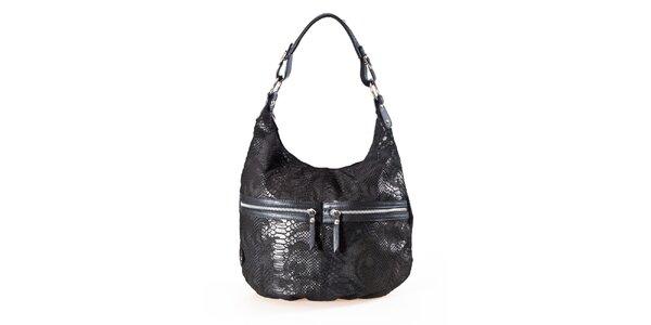 Dámská černá kabelka s hadím vzorem a dvojitými zipy Luisa Vannini