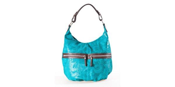 Dámská tyrkysovo-hnědá kabelka s hadím vzorem a dvojitými zipy Luisa Vannini
