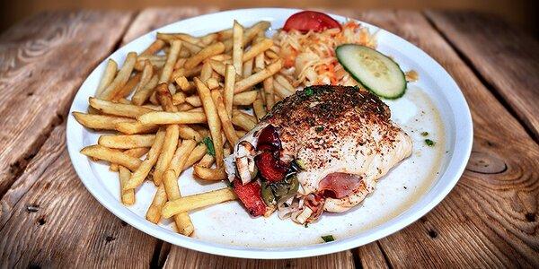 200gramová kuřecí kapsa Olymp s porcí hranolek