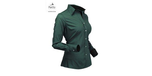 Stylová dámská zelená košile Pontto