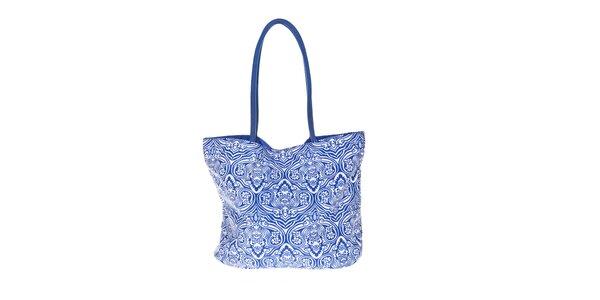Dámská modro-bílá plážová taška David