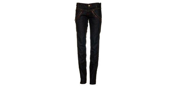 Dámské tmavě modré džíny se zipy Timeout