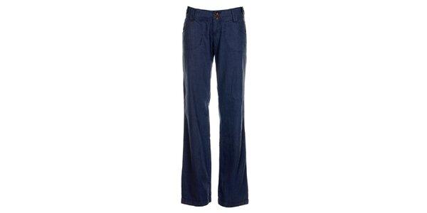 Dámské modré lněné kalhoty Timeout