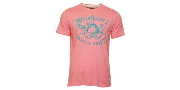 Pánské růžové tričko Timeout s modrým potiskem