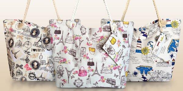 Plážové maxi tašky s vintage potiskem
