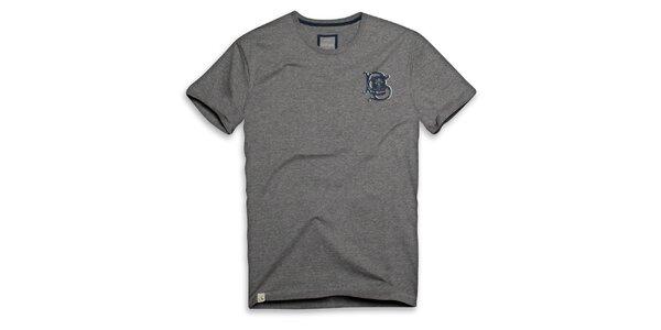 Pánské tmavě šedé bavlněné triko s ornamentem Paul Stragass