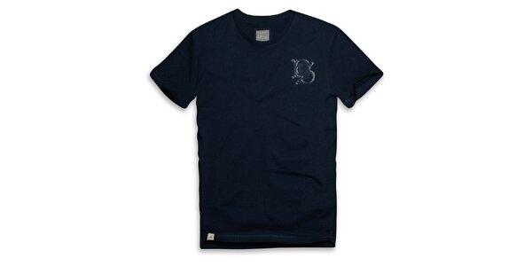 Pánské tmavě modré bavlněné triko s ornamentem Paul Stragass