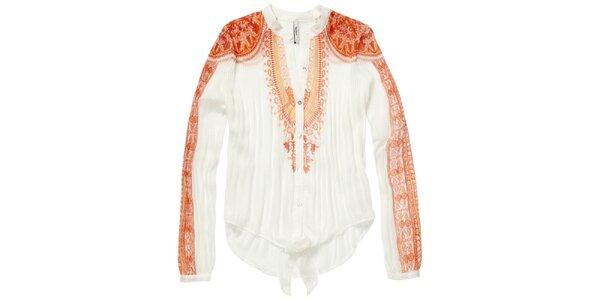 Dámská oranžovo-bílá plisovaná košile Pepe Jeans