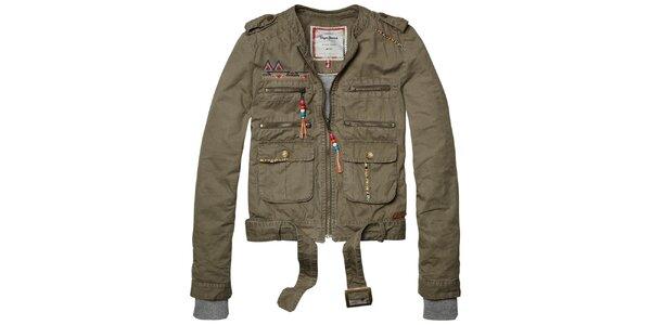 Dámská khaki bundička s barevnými detaily a páskem Pepe Jeans