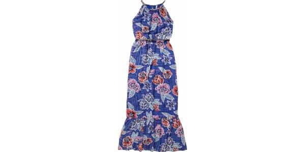 Dámské modré maxišaty s páskem a květinovým vzorem Pepe Jeans