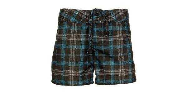 Dámské šedo-modré kostkované šortky Sam 73