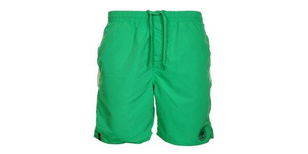 Pánské zelené šortky s pruhy na zadním díle Sam 73
