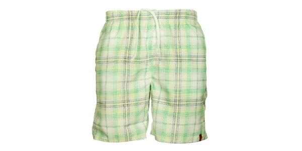 Pánské zeleno-krémové kostkované šortky Sam 73