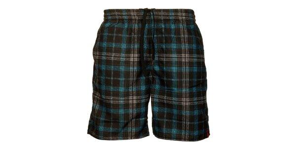 Pánské černo-modré kostkované šortky Sam 73