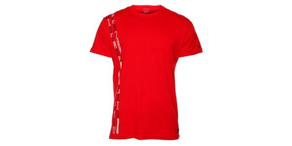 Pánské červené triko se svislým potiskem Sam 73