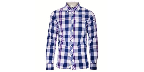 Pánská košile Timeout s fialovo-modrými kostkami