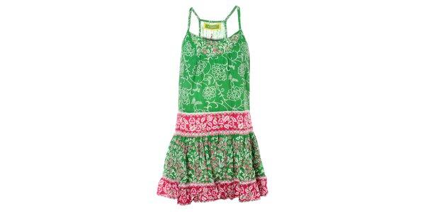 Dámské zeleno-růžové s květinovým vzorem Bleifrei