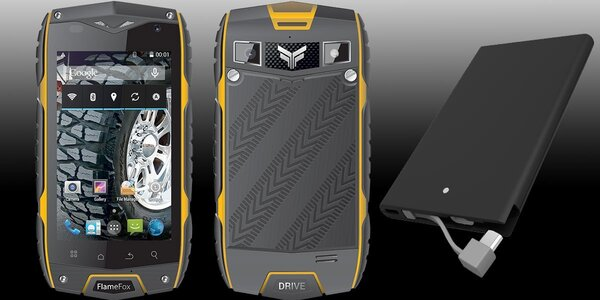 Odolný smartphone FlameFox Drive s powerbankou