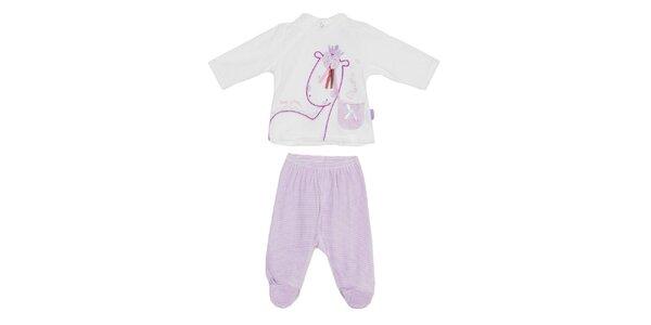 Dětský fialovo-bílý set kalhot a trika Yatsi
