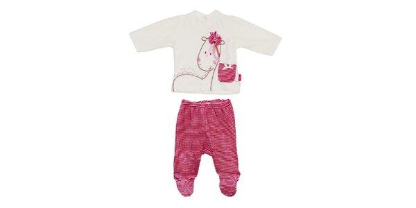 Dětský červeno-bílý set kalhot a trika Yatsi