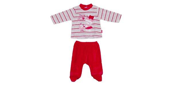 Dětský červeno-šedý pruhovaný set kalhot a trika Yatsi