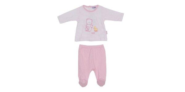 Dětský růžovo-bílý set kalhot a trika Yatsi