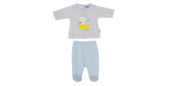 Dětský modrý set kalhot a pruhovaného trika Yatsi