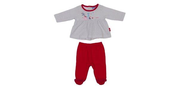 Dětský červeno-šedý set kalhot a trika Yatsi