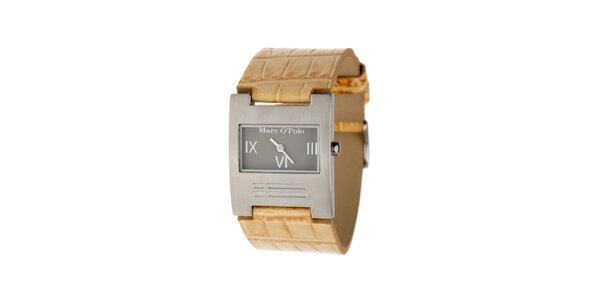 Dámské hodinky Marc O´Polo s béžovým koženým řemínkem