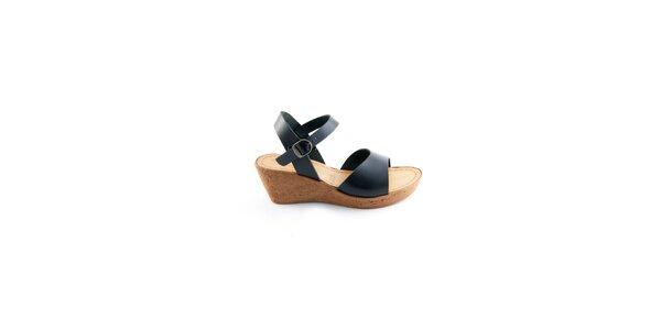 Dámské černé kožené sandálky Miss Butterfly