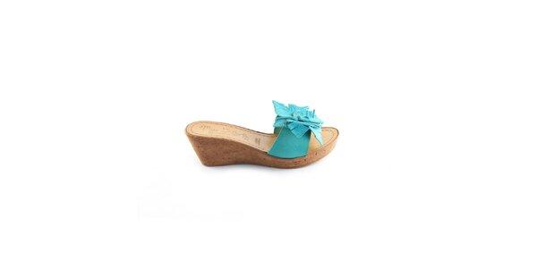 Dámské tyrkysové pantofle Miss Butterfly